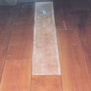 """The """"witness"""" Left On The Music Room Floors Gives Solid Testimony Of The """"before And After"""" Look Of The Handsome Teak Floors."""